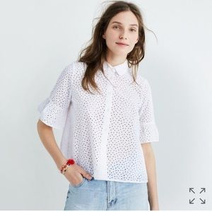 Madewell Eyelet Bell Sleeve Top